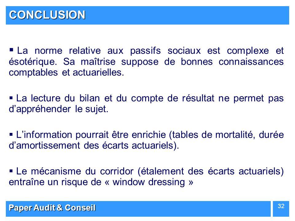Paper Audit & Conseil 32 CONCLUSION La norme relative aux passifs sociaux est complexe et ésotérique. Sa maîtrise suppose de bonnes connaissances comp