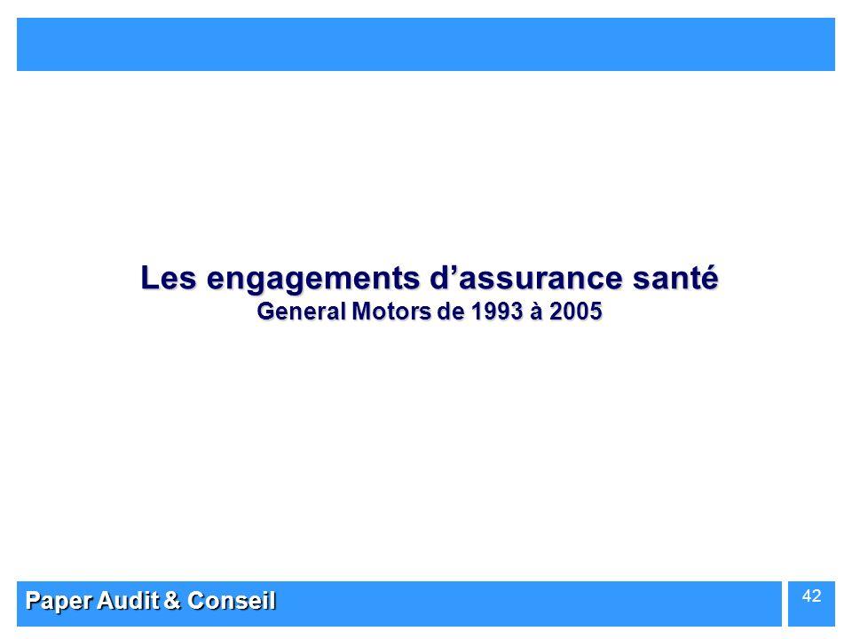 Paper Audit & Conseil 42 Les engagements dassurance santé General Motors de 1993 à 2005