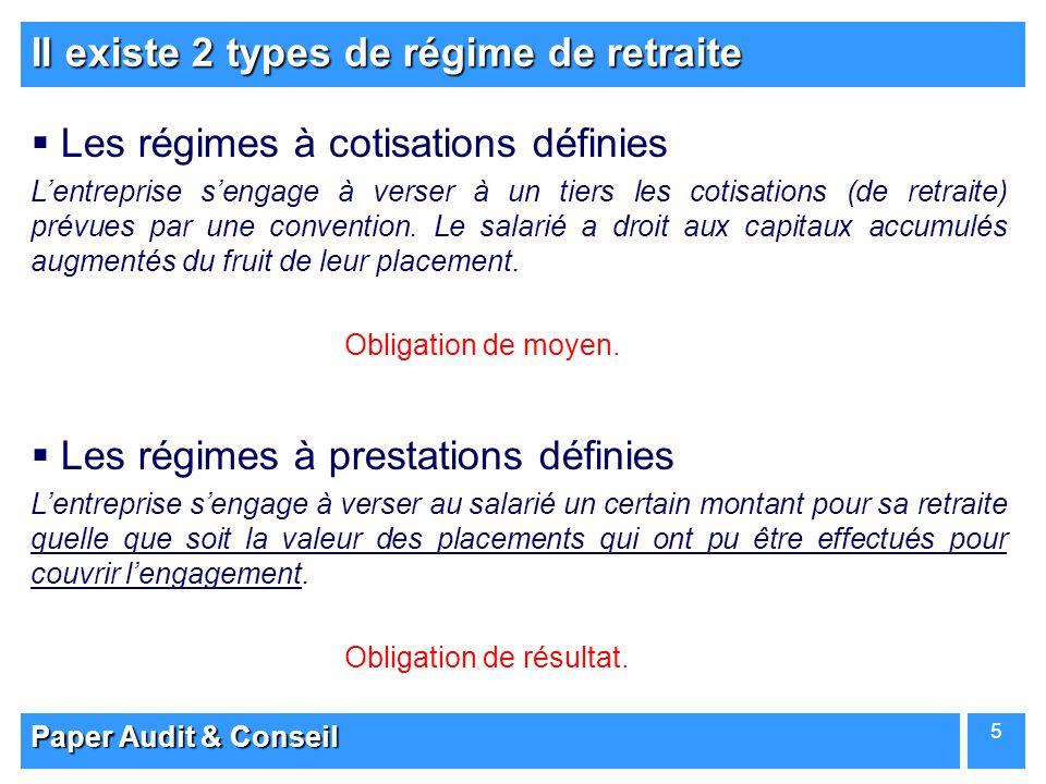 Paper Audit & Conseil 5 Il existe 2 types de régime de retraite Les régimes à cotisations définies Lentreprise sengage à verser à un tiers les cotisat