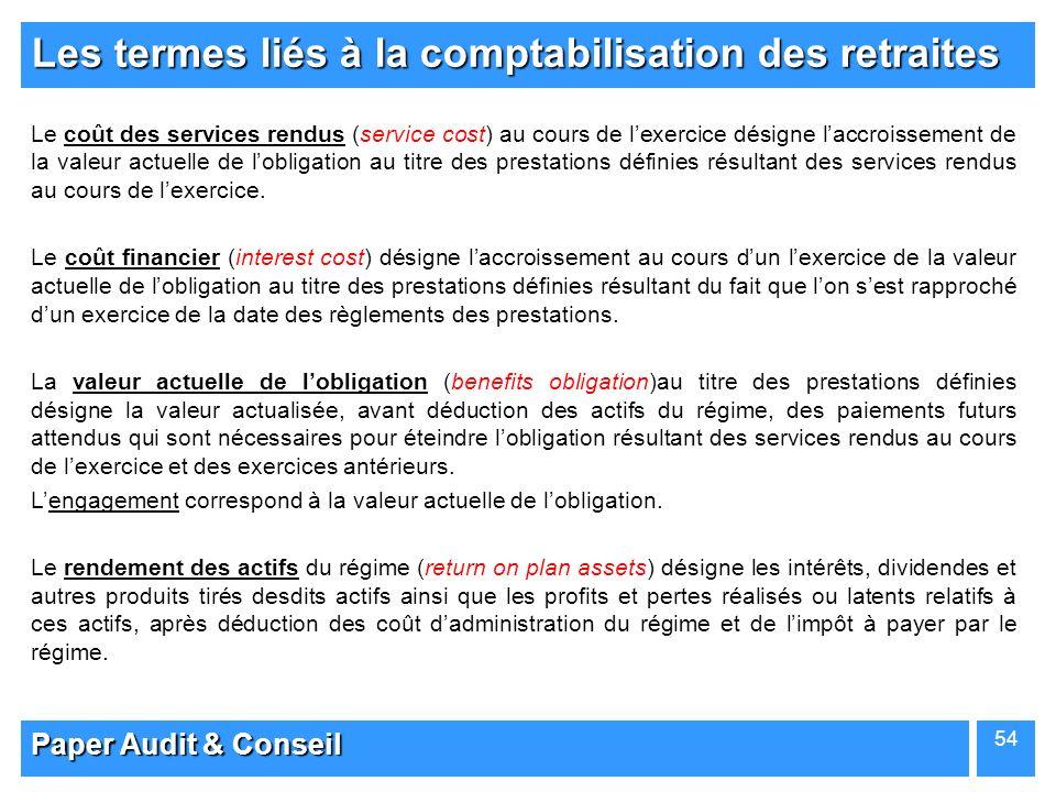 Paper Audit & Conseil 54 Les termes liés à la comptabilisation des retraites Le coût des services rendus (service cost) au cours de lexercice désigne