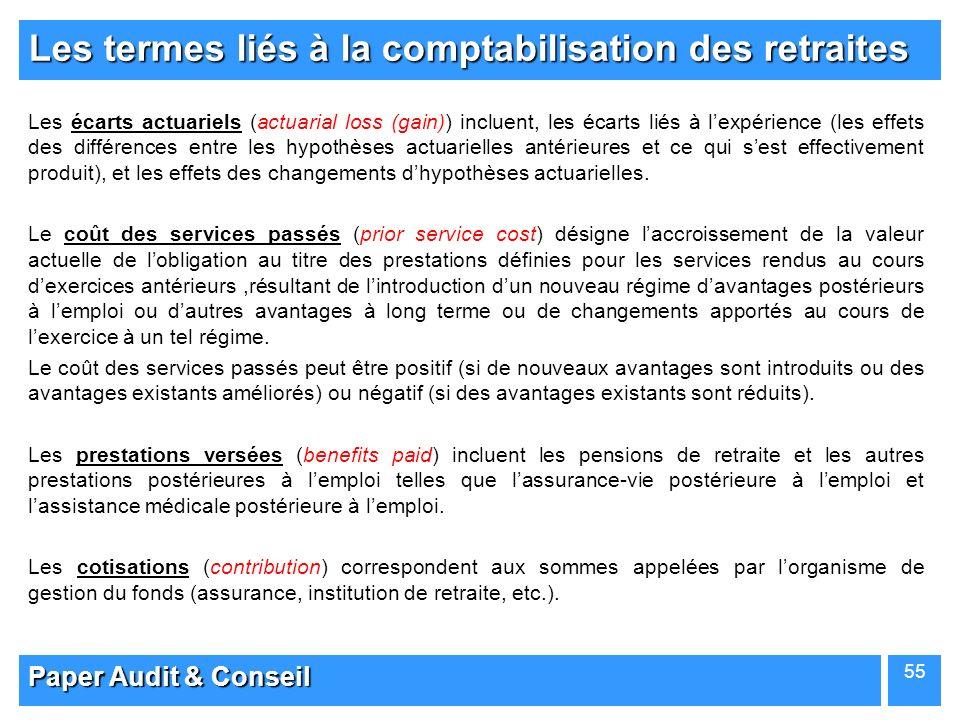 Paper Audit & Conseil 55 Les termes liés à la comptabilisation des retraites Les écarts actuariels (actuarial loss (gain)) incluent, les écarts liés à