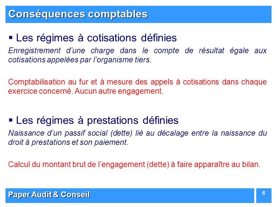 Paper Audit & Conseil 6 Conséquences comptables Les régimes à cotisations définies Enregistrement dune charge dans le compte de résultat égale aux cot
