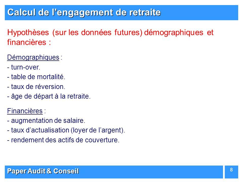 Paper Audit & Conseil 8 Calcul de lengagement de retraite Hypothèses (sur les données futures) démographiques et financières : Démographiques : - - tu