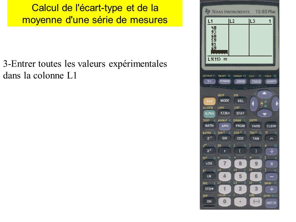 Calcul de l'écart-type et de la moyenne d'une série de mesures 3-Entrer toutes les valeurs expérimentales dans la colonne L1