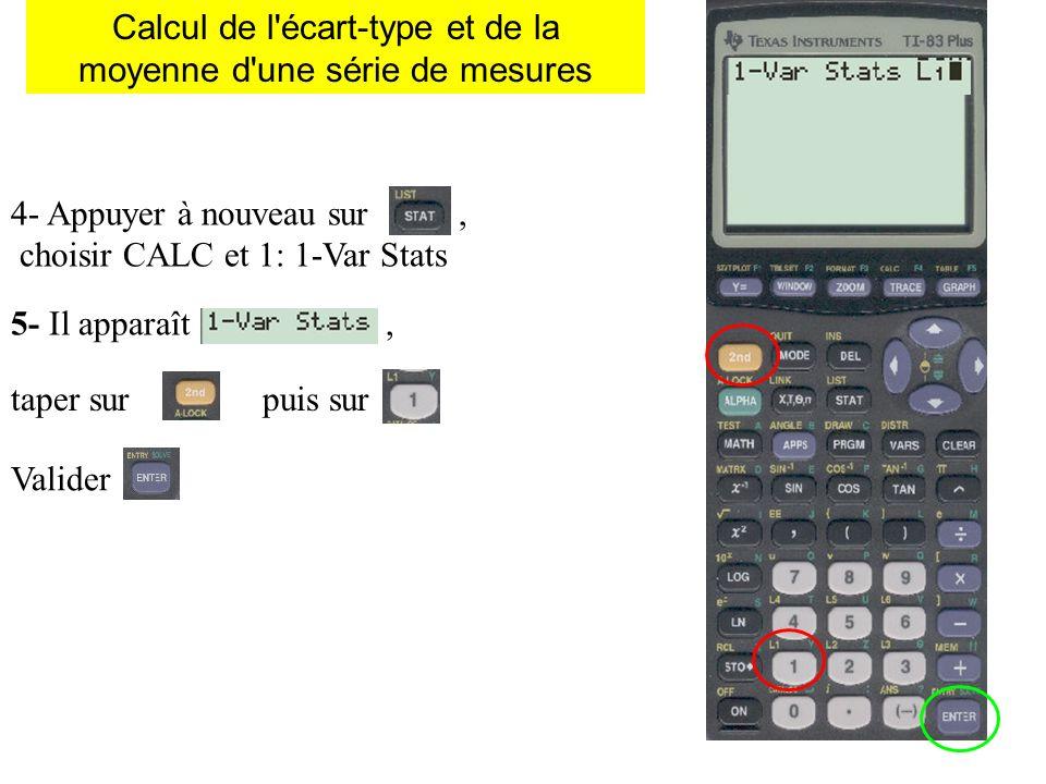 Calcul de l'écart-type et de la moyenne d'une série de mesures 4- Appuyer à nouveau sur, choisir CALC et 1: 1-Var Stats 5- Il apparaît, taper sur puis