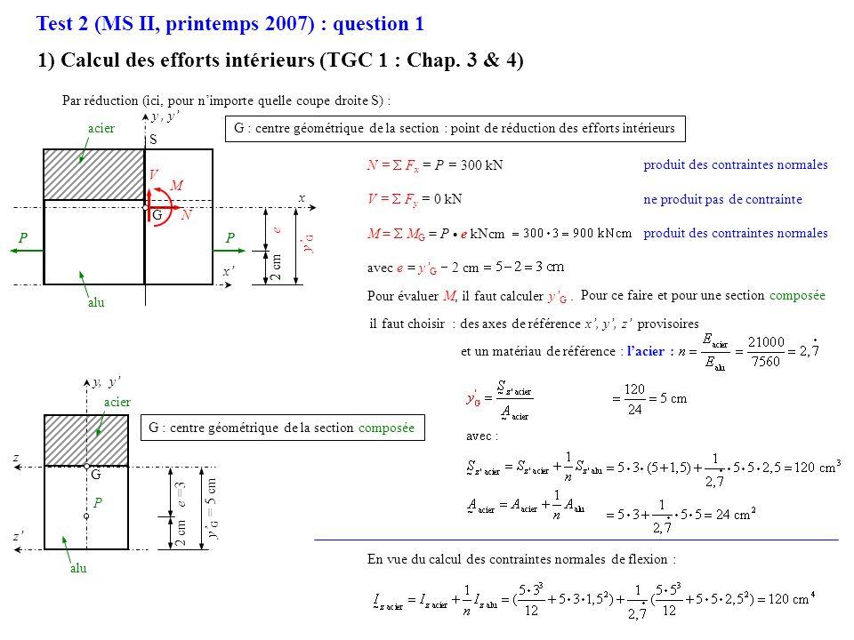 e =3 P 2 cm alu acier 2 cm PP y G = 5 cm N = F x = P = 300 kN V = F y = 0 kN M = M G = P e kNcm avec e = y G 2 cm S 2 cm PP x, y G : centre géométriqu