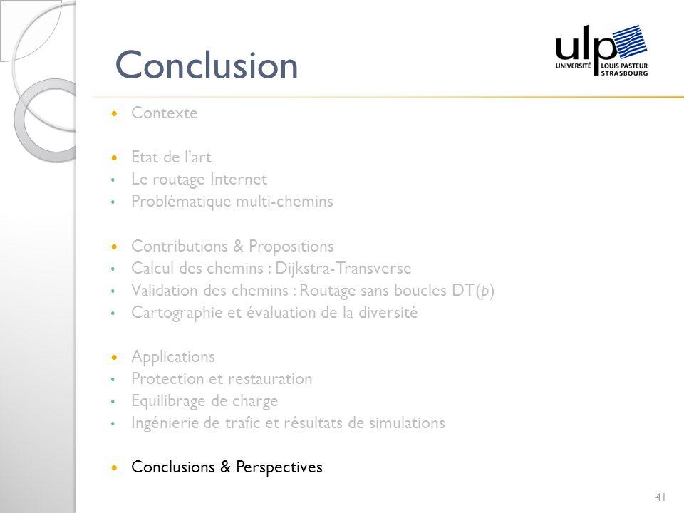 Conclusion Contexte Etat de lart Le routage Internet Problématique multi-chemins Contributions & Propositions Calcul des chemins : Dijkstra-Transverse