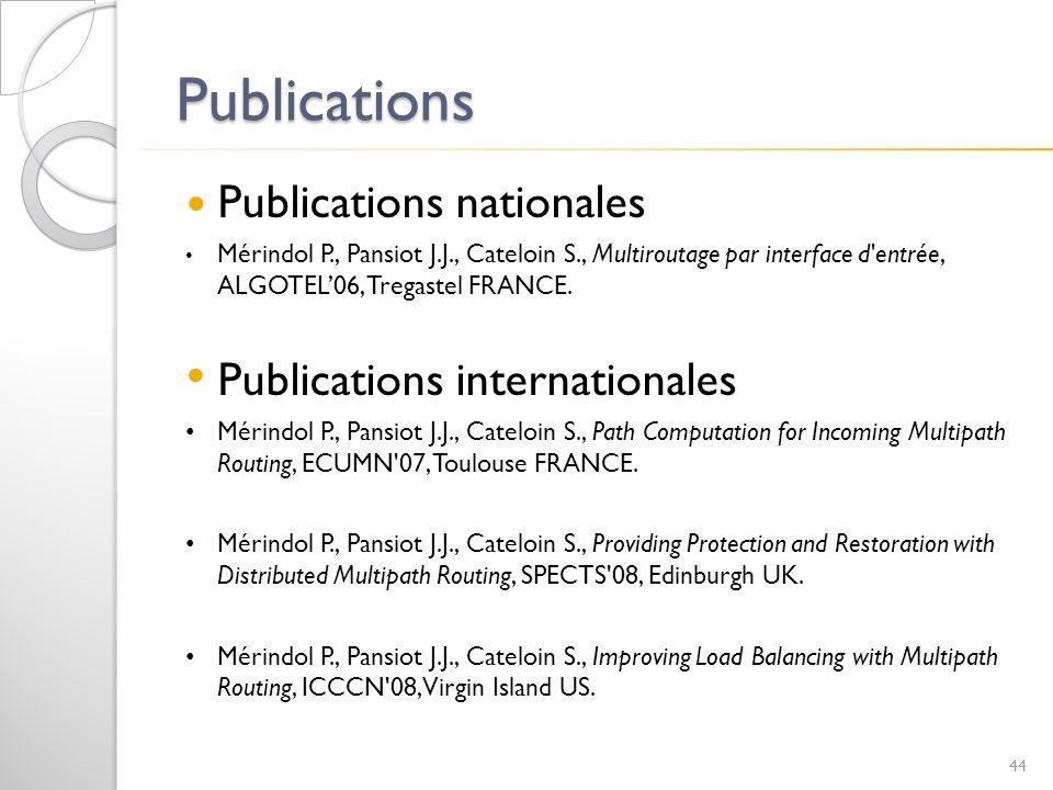 Publications Publications nationales Mérindol P., Pansiot J.J., Cateloin S., Multiroutage par interface d'entrée, ALGOTEL06, Tregastel FRANCE. Publica