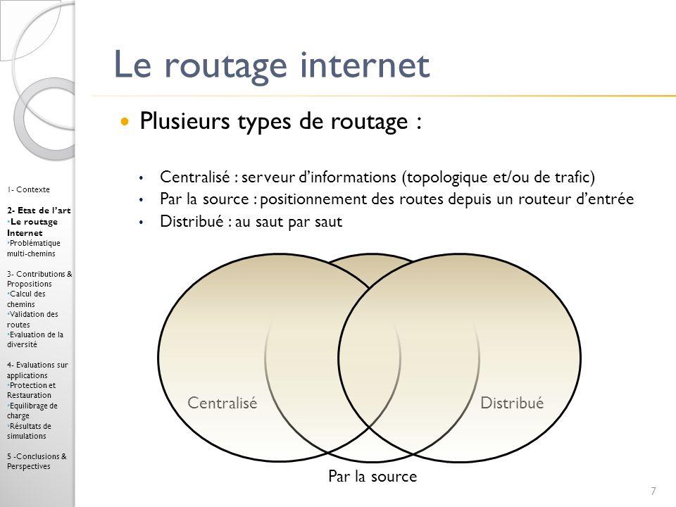 Routage par la source Route signalée par étiquetage Commutation par étiquettes (identifiants courts) Protocole : Multi-Protocol Label Switching (MPLS) [RFC3031] Positionnement des routes avec un protocole de signalisation explicite tel que RSVP-TE [RFC3209] ou CR-LDP [RFC3213] Mise en œuvre dun algorithme multi-chemins : K meilleurs chemins [Eppstein94], totalement disjoints [Suuberall79], disjoints en bande passante, contraintes multiples 8 1- Contexte 2- Etat de lart Le routage Internet Problématique multi-chemins 3- Contributions & Propositions Calcul des chemins Validation des routes Evaluation de la diversité 4- Evaluations sur applications Protection et Restauration Equilibrage de charge Résultats de simulations 5 -Conclusions & Perspectives Optimisation Qualité de service (QoS) Répartition rigide de la charge (par chemin) Coût de labellisation (par segment)