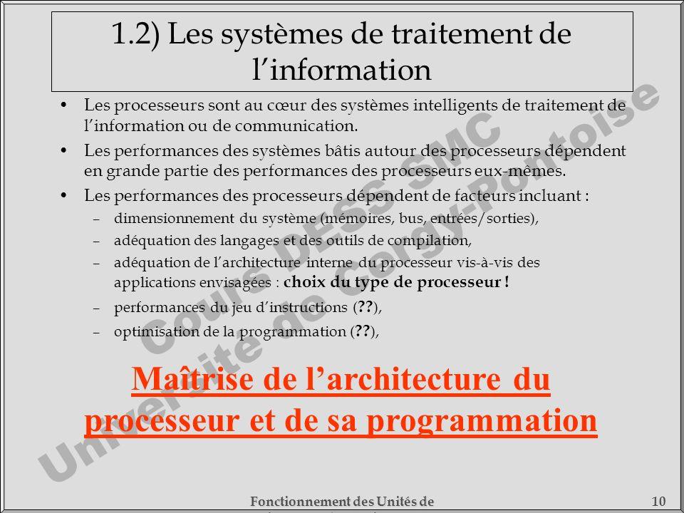 Cours DESS SMC Université de Cergy-Pontoise Fonctionnement des Unités de Traitement - 1) Fonctionnement des Processeurs 10 1.2) Les systèmes de traite