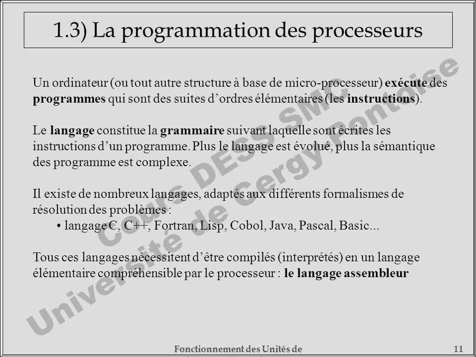 Cours DESS SMC Université de Cergy-Pontoise Fonctionnement des Unités de Traitement - 1) Fonctionnement des Processeurs 11 1.3) La programmation des p