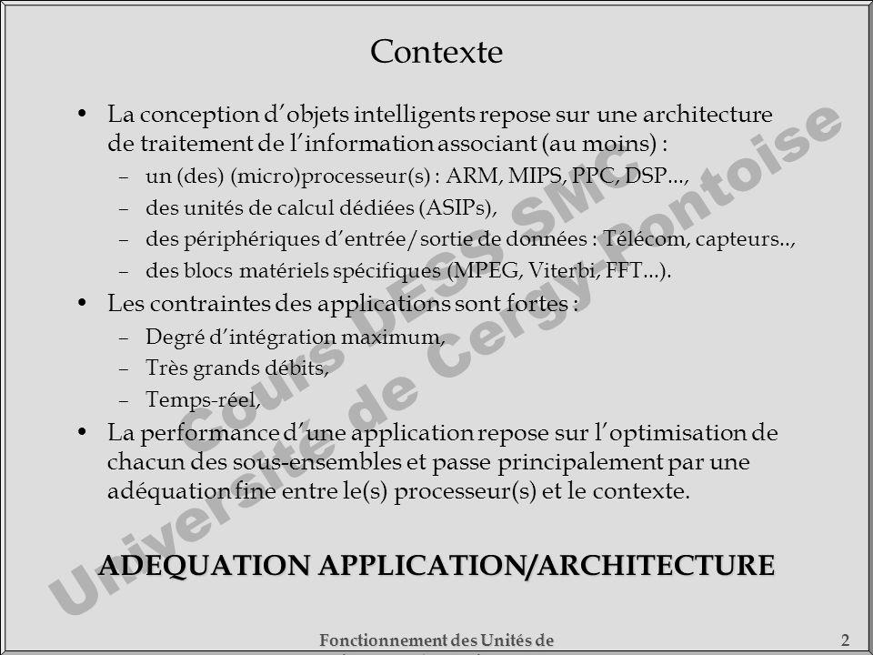 Cours DESS SMC Université de Cergy-Pontoise Fonctionnement des Unités de Traitement - 1) Fonctionnement des Processeurs 2 Contexte La conception dobje