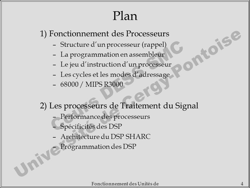 Cours DESS SMC Université de Cergy-Pontoise Fonctionnement des Unités de Traitement - 1) Fonctionnement des Processeurs 4 Plan 1) Fonctionnement des P