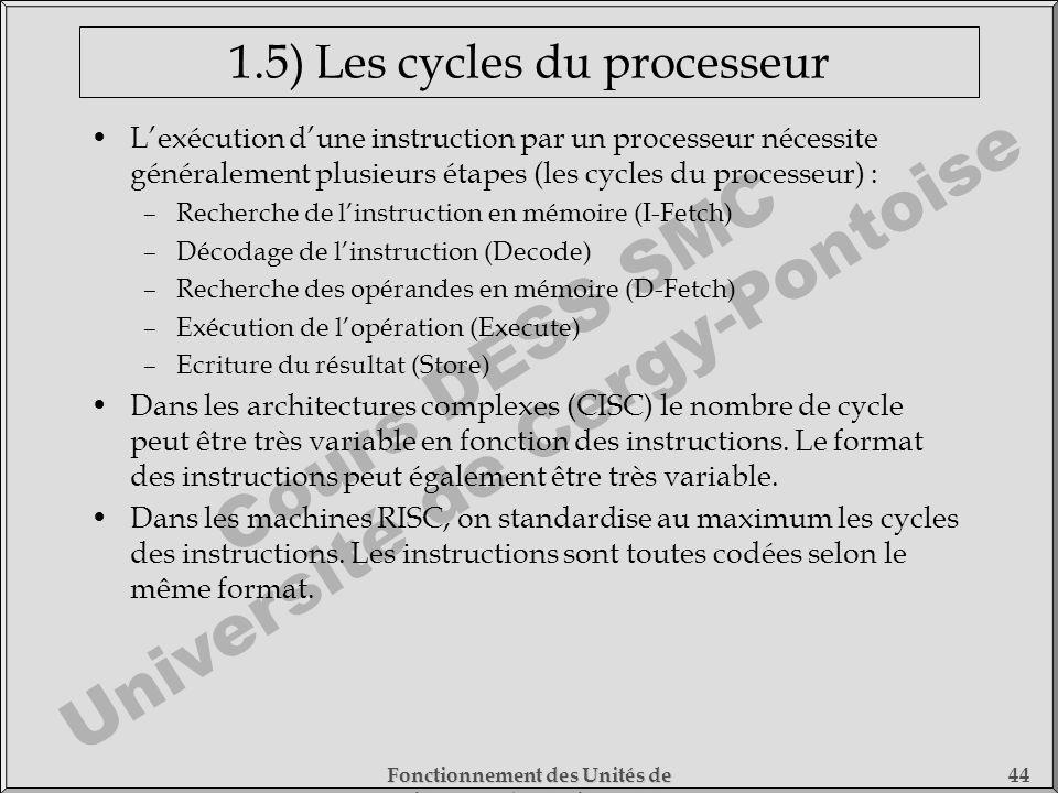 Cours DESS SMC Université de Cergy-Pontoise Fonctionnement des Unités de Traitement - 1) Fonctionnement des Processeurs 44 1.5) Les cycles du processe