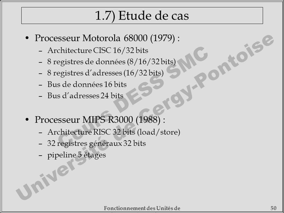 Cours DESS SMC Université de Cergy-Pontoise Fonctionnement des Unités de Traitement - 1) Fonctionnement des Processeurs 50 1.7) Etude de cas Processeu