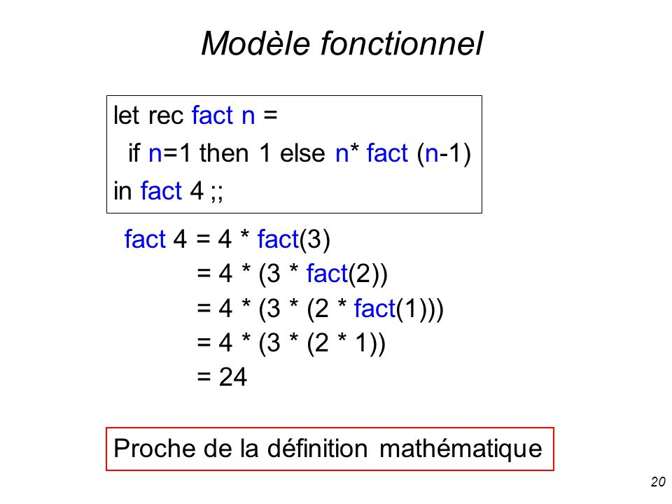 20 Modèle fonctionnel let rec fact n = if n=1 then 1 else n* fact (n-1) in fact 4 ;; fact 4 = 4 * fact(3) = 4 * (3 * fact(2)) = 4 * (3 * (2 * fact(1))