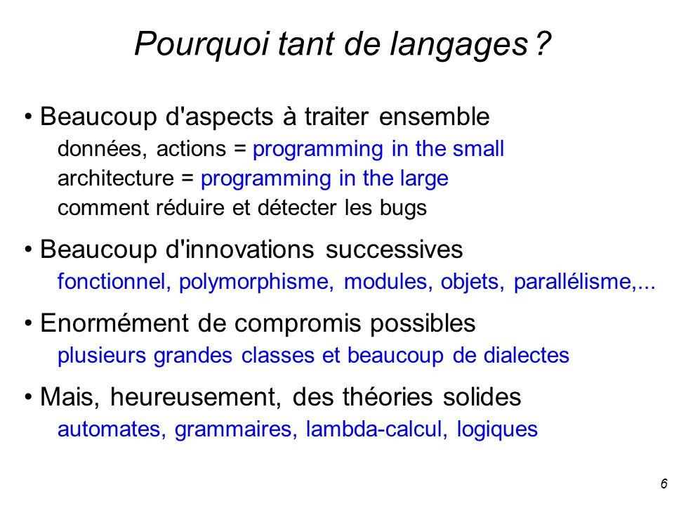 7 Les composants d un langage Des principes de calcul et d architecture calcul : impératif, fonctionnel, logique, temporel, etc.