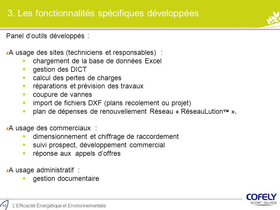 10 LEfficacité Énergétique et Environnementale 3. Les fonctionnalités spécifiques développées Panel doutils développés : A usage des sites (technicien