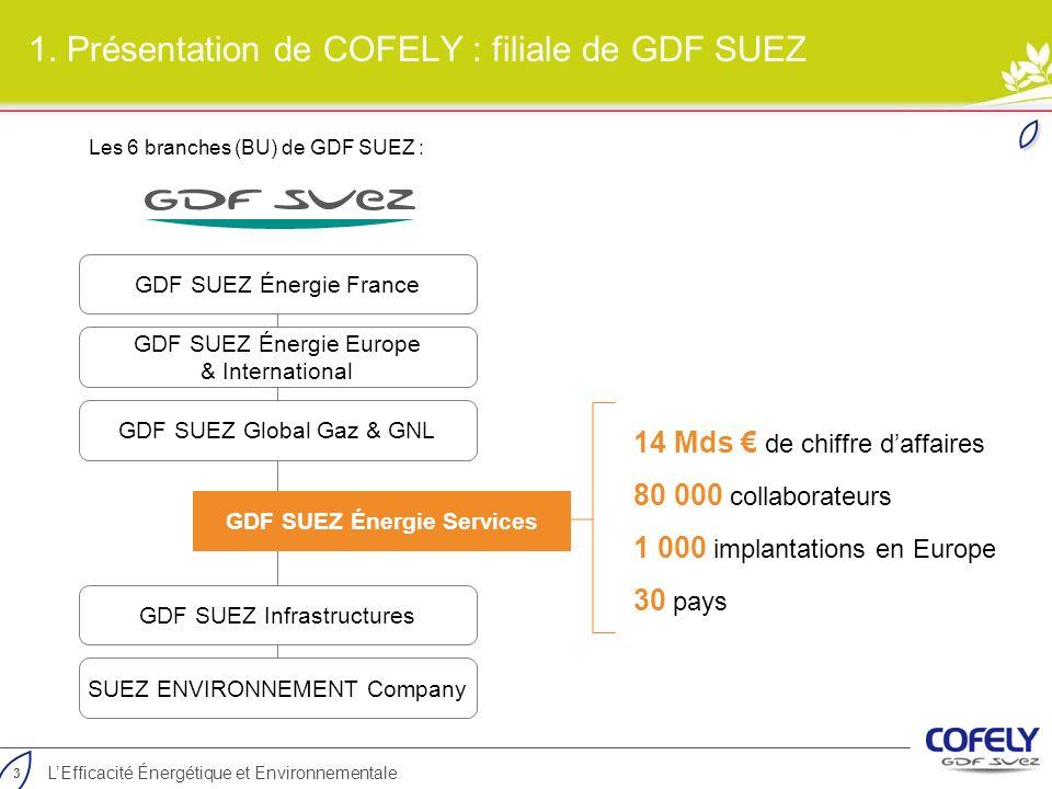 3 LEfficacité Énergétique et Environnementale GDF SUEZ Énergie France GDF SUEZ Énergie Europe & International GDF SUEZ Global Gaz & GNL GDF SUEZ Énerg