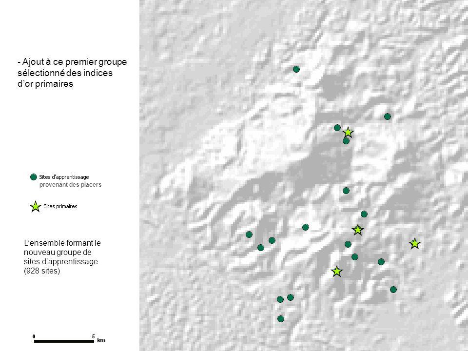 - Utilisation des données géologiques (unités, lithologie, failles, contacts …) pour affecter un score de favorabilité géologique