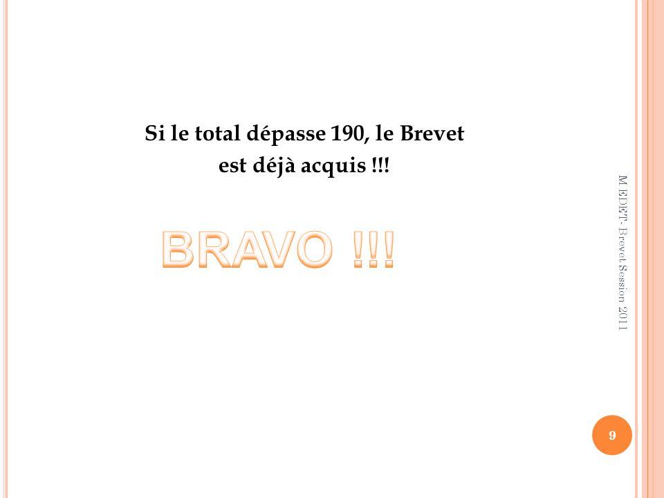 Si le total dépasse 190, le Brevet est déjà acquis !!! 9 M EDET- Brevet Session 2011