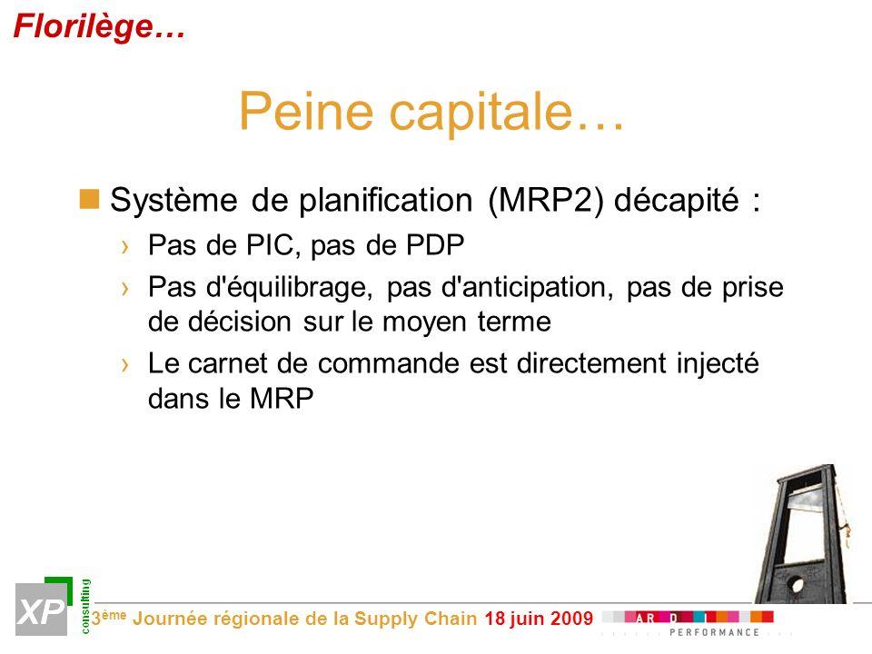 3 ème Journée régionale de la Supply Chain 18 juin 2009 Peine capitale… Système de planification (MRP2) décapité : Pas de PIC, pas de PDP Pas d équilibrage, pas d anticipation, pas de prise de décision sur le moyen terme Le carnet de commande est directement injecté dans le MRP Florilège…