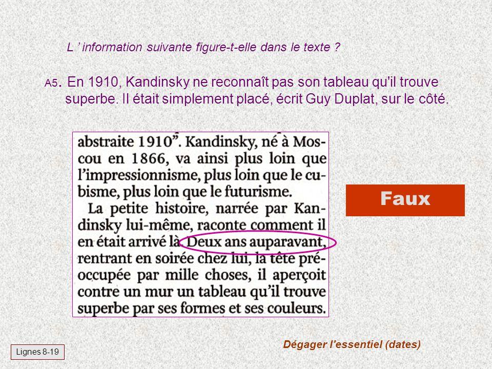 L information suivante figure-t-elle dans le texte ? Vrai Lignes 170-173 A4. Les nazis ont, d'après l'auteur, traité l'image abstraite d'art dégénéré.
