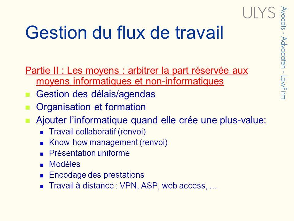 Gestion du flux de travail Partie II : Les moyens : arbitrer la part réservée aux moyens informatiques et non-informatiques Gestion des délais/agendas