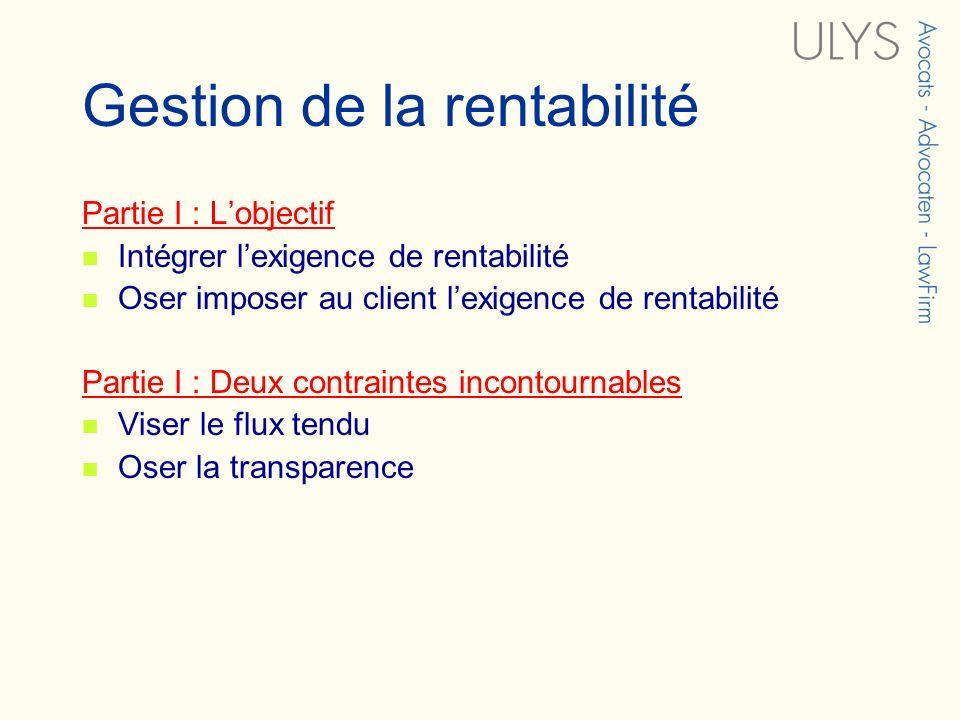 Gestion de la rentabilité Partie I : Lobjectif Intégrer lexigence de rentabilité Oser imposer au client lexigence de rentabilité Partie I : Deux contr
