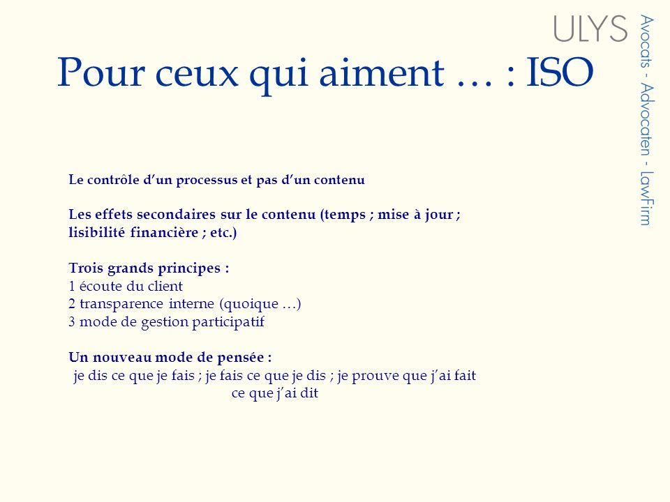 Pour ceux qui aiment … : ISO Le contrôle dun processus et pas dun contenu Les effets secondaires sur le contenu (temps ; mise à jour ; lisibilité fina