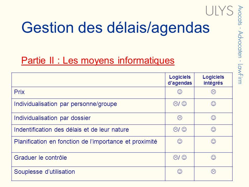 Gestion des délais/agendas Partie II : Les moyens informatiques Logiciels dagendas Logiciels intégrés Prix Individualisation par personne/groupe / Ind