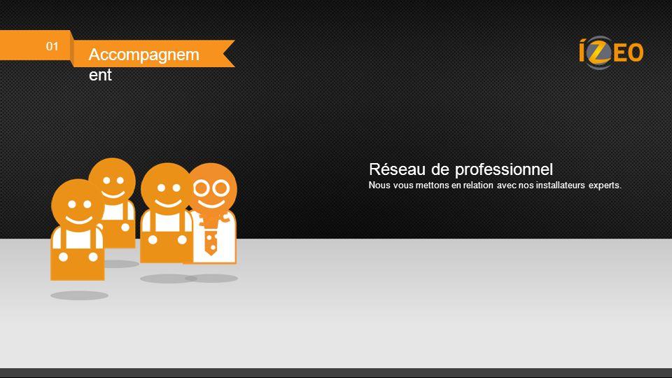01 Accompagnem ent Contact personnalisé Un commercial vous accompagne tout le long de notre collaboration.