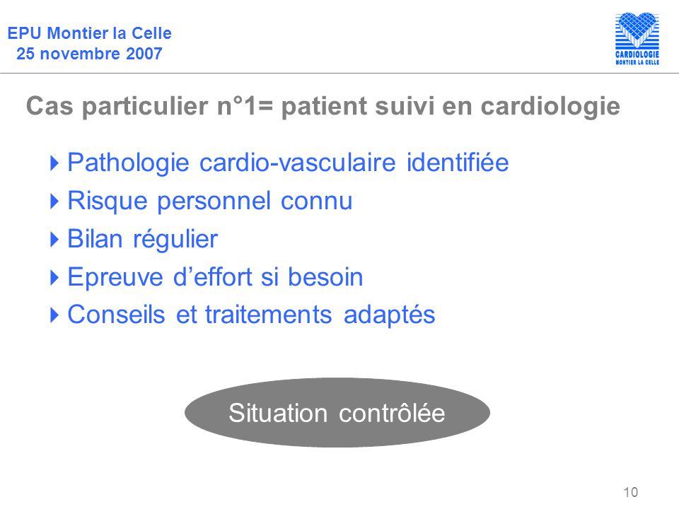 EPU Montier la Celle 25 novembre 2007 10 Cas particulier n°1= patient suivi en cardiologie Pathologie cardio-vasculaire identifiée Risque personnel co
