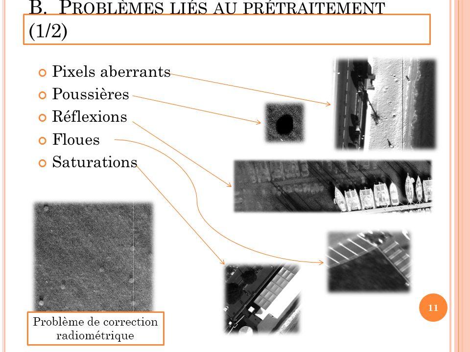 B. P ROBLÈMES LIÉS AU PRÉTRAITEMENT (1/2) Pixels aberrants Poussières Réflexions Floues Saturations 11 Problème de correction radiométrique