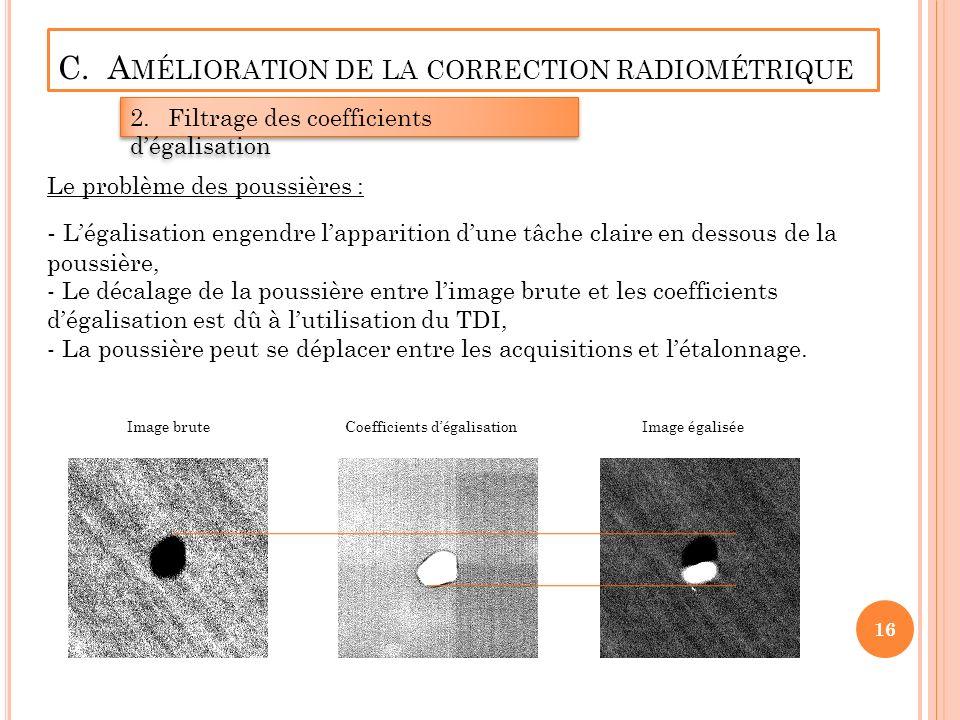C. A MÉLIORATION DE LA CORRECTION RADIOMÉTRIQUE 2.Filtrage des coefficients dégalisation - Légalisation engendre lapparition dune tâche claire en dess