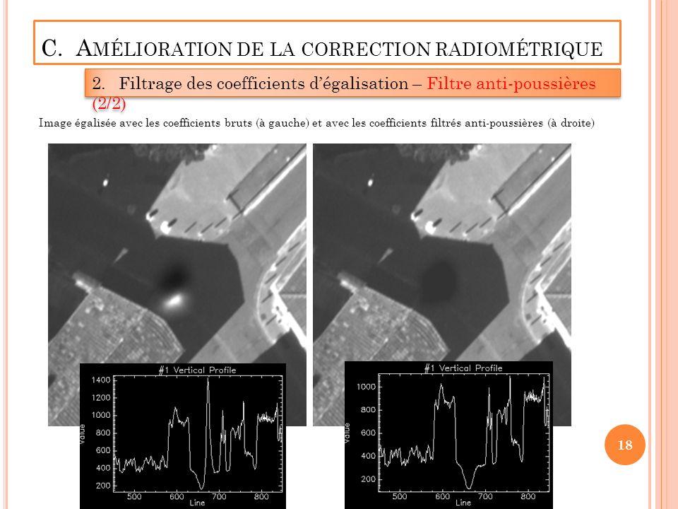 C. A MÉLIORATION DE LA CORRECTION RADIOMÉTRIQUE 2.Filtrage des coefficients dégalisation – Filtre anti-poussières (2/2) 18 Image égalisée avec les coe