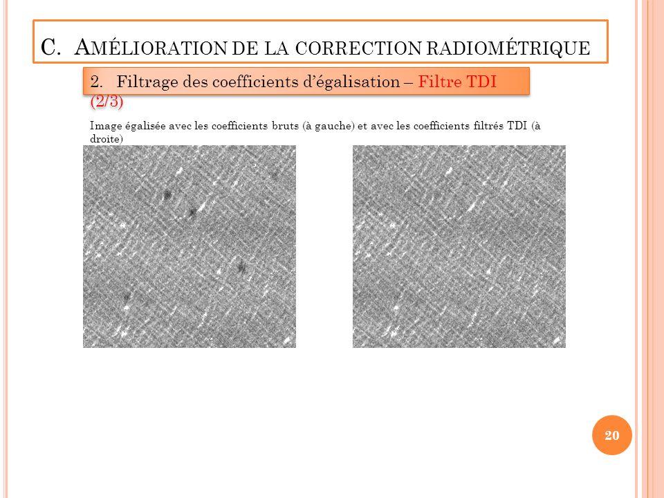 C. A MÉLIORATION DE LA CORRECTION RADIOMÉTRIQUE 2.Filtrage des coefficients dégalisation – Filtre TDI (2/3) 20 Image égalisée avec les coefficients br