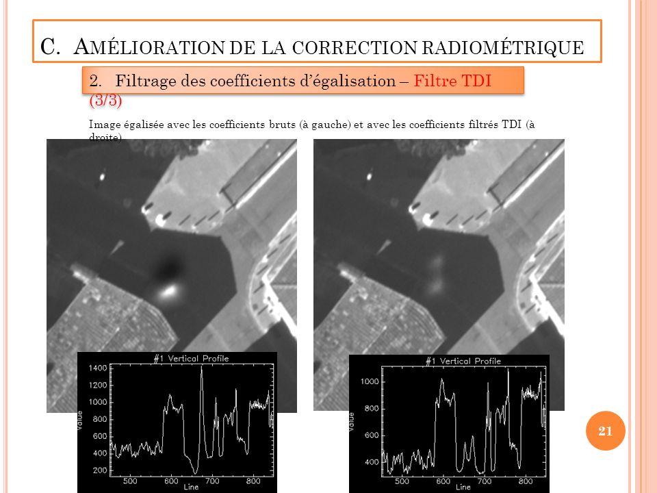 C. A MÉLIORATION DE LA CORRECTION RADIOMÉTRIQUE 2.Filtrage des coefficients dégalisation – Filtre TDI (3/3) 21 Image égalisée avec les coefficients br