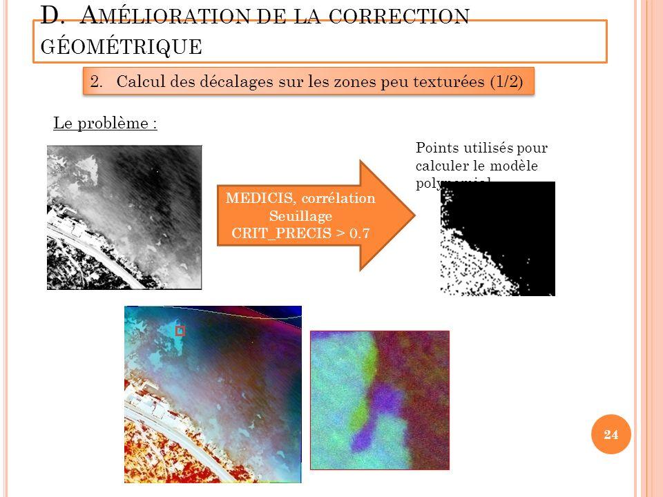 D. A MÉLIORATION DE LA CORRECTION GÉOMÉTRIQUE 2.Calcul des décalages sur les zones peu texturées (1/2) MEDICIS, corrélation Seuillage CRIT_PRECIS > 0.