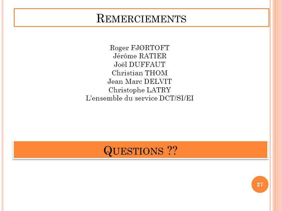 R EMERCIEMENTS Roger FJØRTOFT Jérôme RATIER Joël DUFFAUT Christian THOM Jean Marc DELVIT Christophe LATRY Lensemble du service DCT/SI/EI Q UESTIONS ??