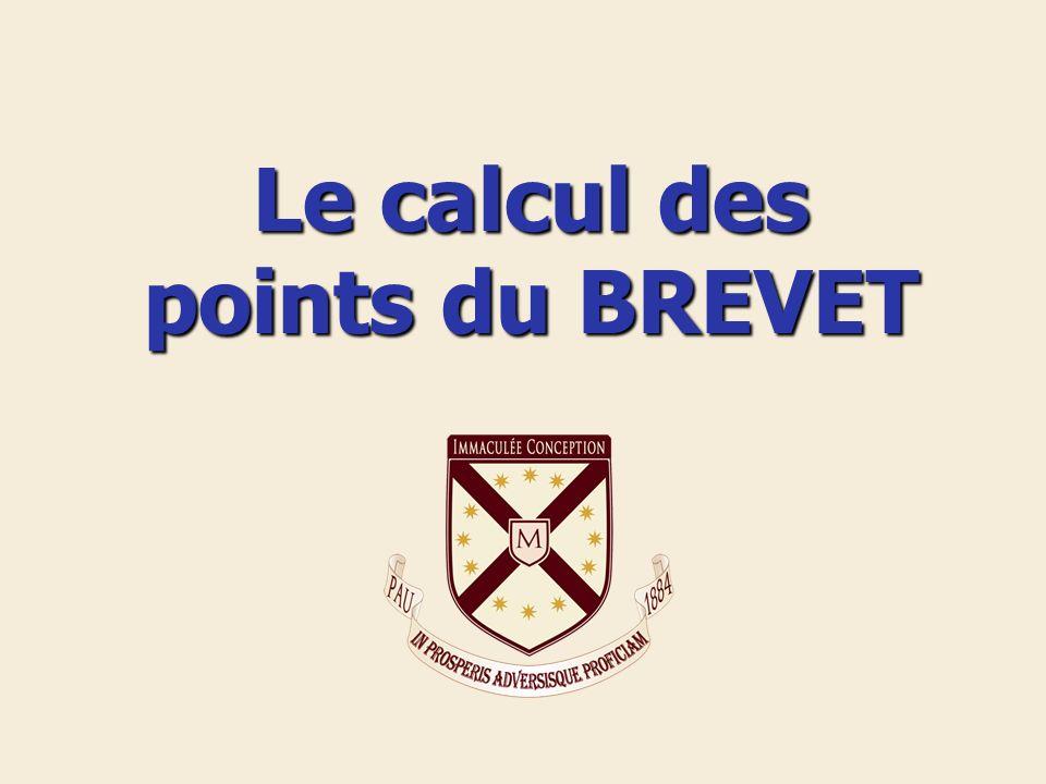 Le calcul des points du BREVET