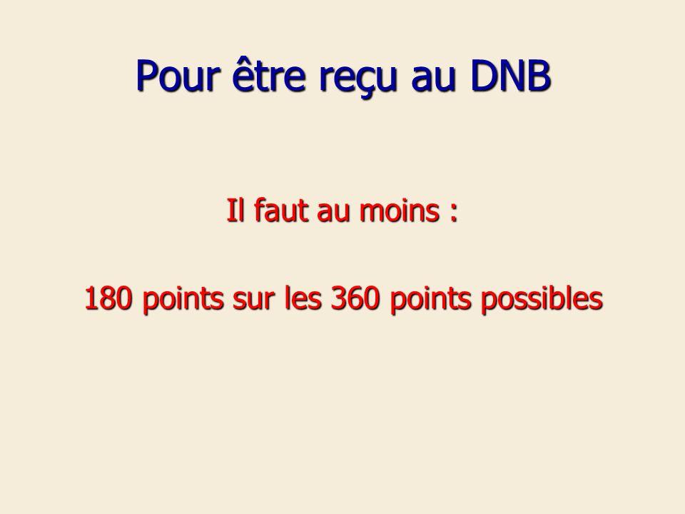 Pour être reçu au DNB Il faut au moins : 180 points sur les 360 points possibles