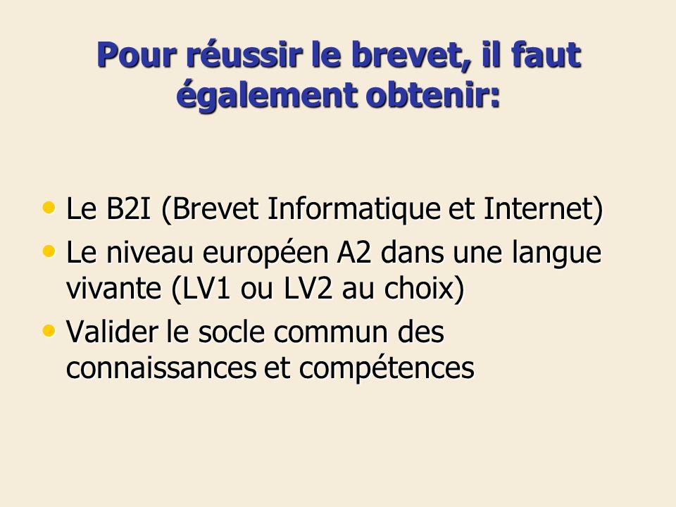 Pour réussir le brevet, il faut également obtenir: Le B2I (Brevet Informatique et Internet) Le B2I (Brevet Informatique et Internet) Le niveau europée