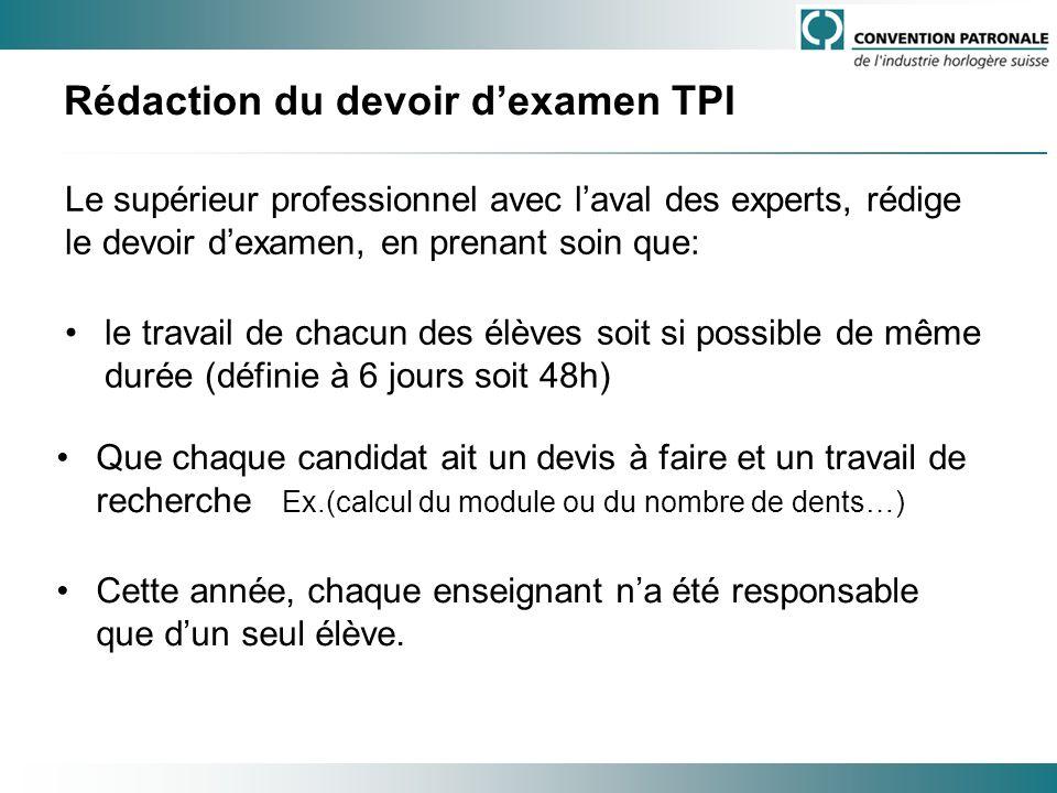 Rédaction du devoir dexamen TPI Le supérieur professionnel avec laval des experts, rédige le devoir dexamen, en prenant soin que: le travail de chacun