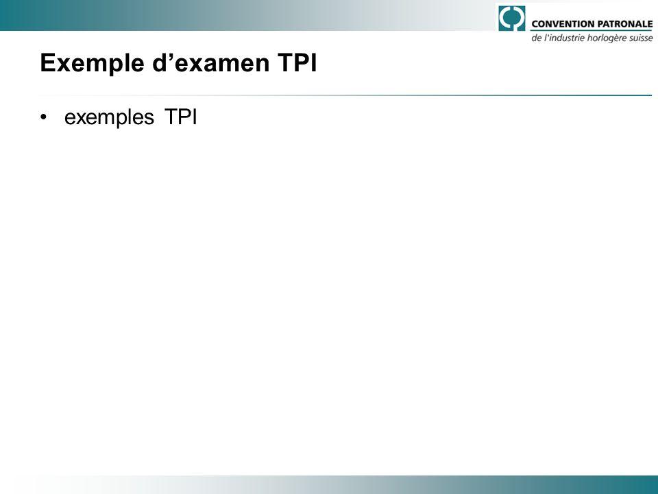 Exemple dexamen TPI exemples TPI