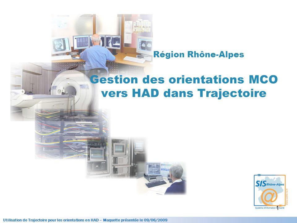 Utilisation de Trajectoire pour les orientations en HAD – Maquette présentée le 09/06/2009 1 Région Rhône-Alpes Gestion des orientations MCO vers HAD