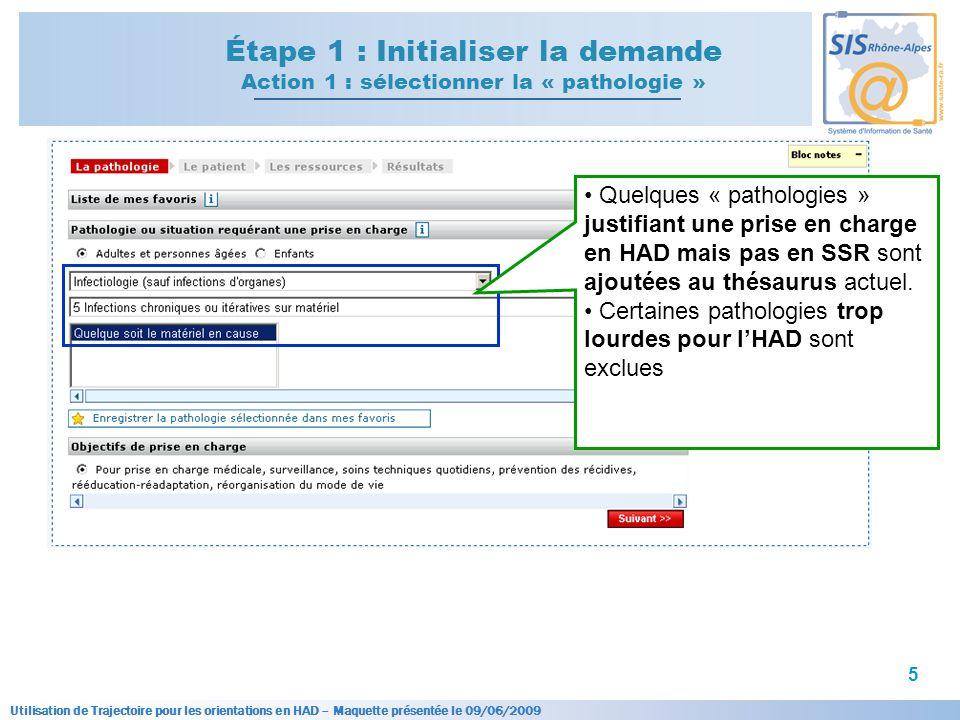 Utilisation de Trajectoire pour les orientations en HAD – Maquette présentée le 09/06/2009 5 Étape 1 : Initialiser la demande Action 1 : sélectionner