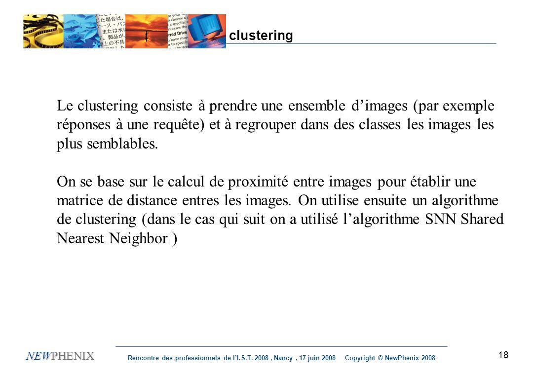 18 NEWPHENIX Rencontre des professionnels de lI.S.T. 2008, Nancy, 17 juin 2008 Copyright © NewPhenix 2008 clustering Le clustering consiste à prendre