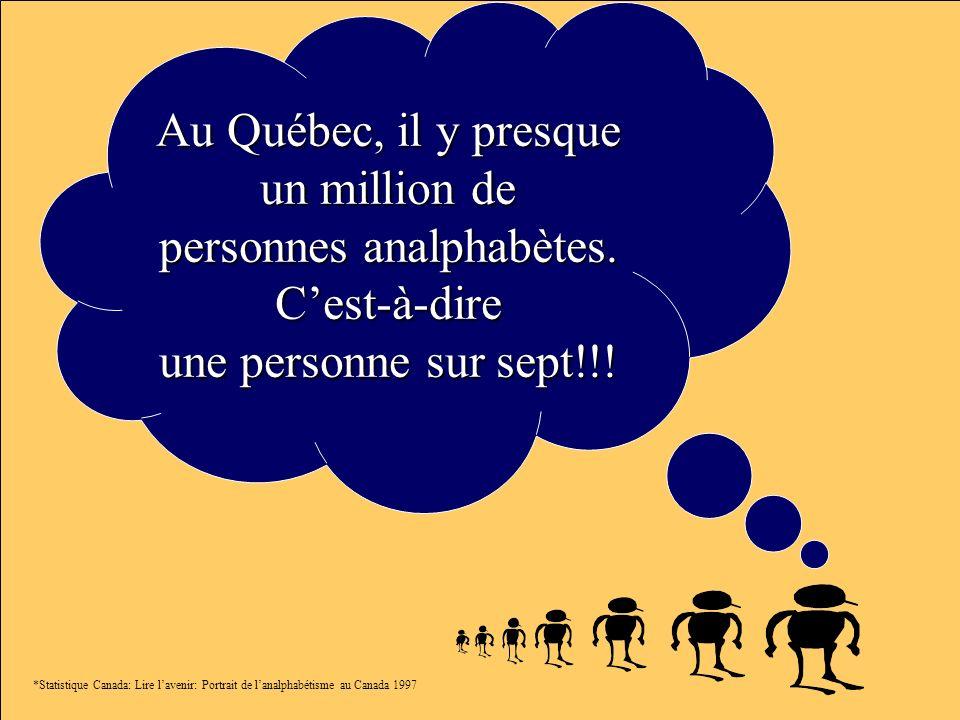 Au Québec, il y presque un million de personnes analphabètes. Cest-à-dire une personne sur sept!!! *Statistique Canada: Lire lavenir: Portrait de lana