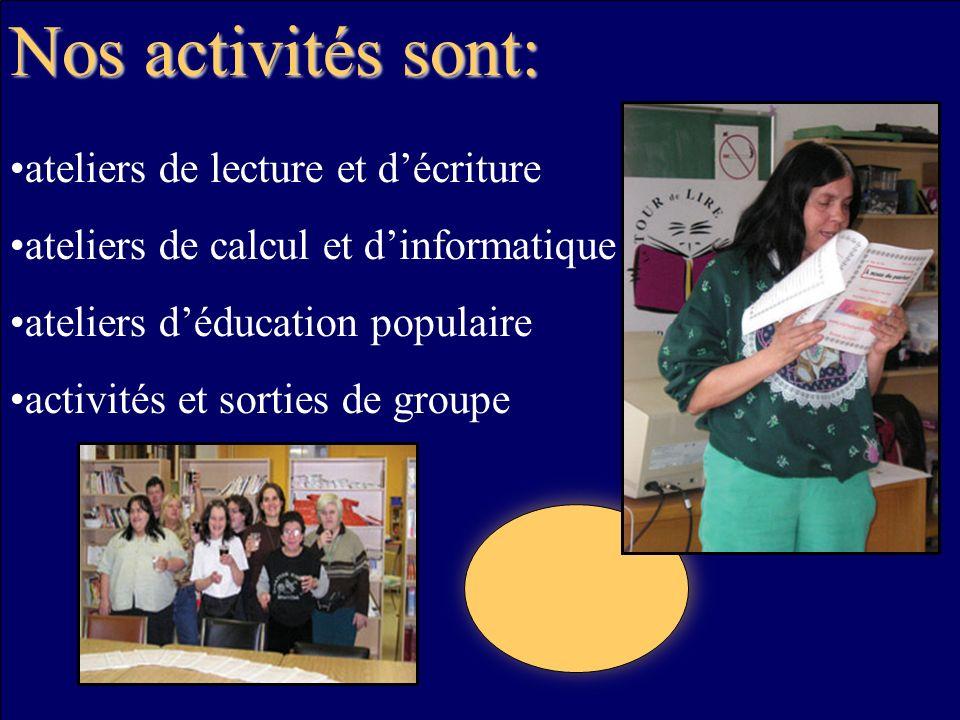 Nos activités sont: ateliers de lecture et décriture ateliers de calcul et dinformatique ateliers déducation populaire activités et sorties de groupe